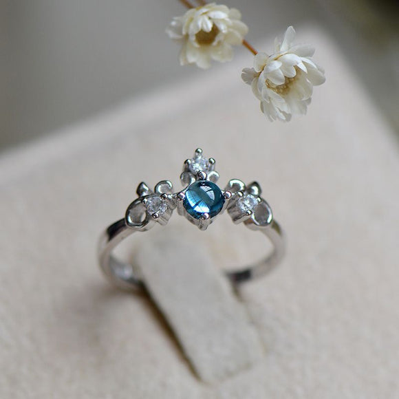 Fashion Simple Plain Jewelry Sea Blue Open Ring Women Tail Ring Natural C  Queen's Crown Ring