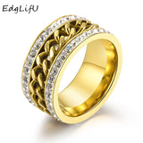 EdgLifU Men's Ring Paved Clear Crystal Punk Rock Accessories Stainless Steel Black Chain Spinner Rings For Men Jewelry 3 Colors