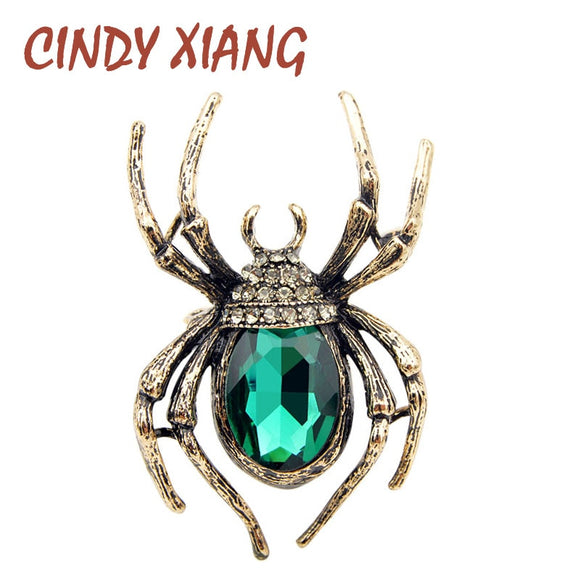 CINDY XIANG Brooches For Women Classic Spider Insect Pins For Man Neckline Front Of Clothes Halloween Gift Jewelry Charms 2018