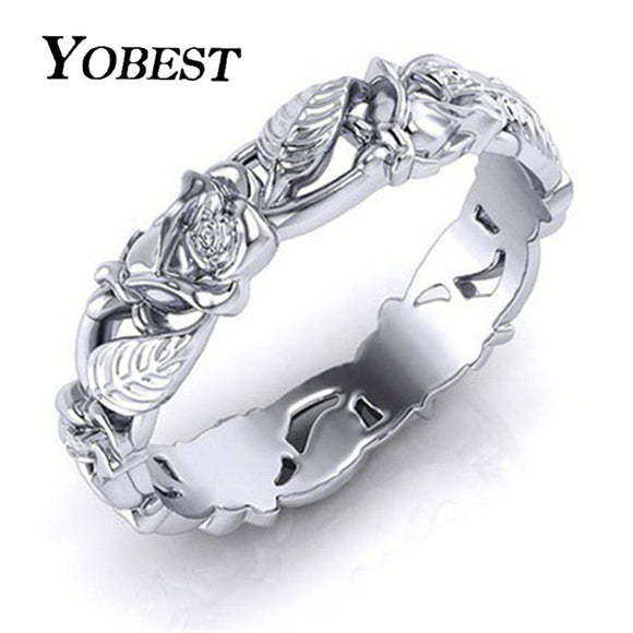 Yobest 2019 New Vintage Silver Color Hollow Flower and Leaves Wedding Ring for Woman Dropshipping