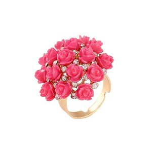 Shimmering Wedding Gift Rhinestone Crystal Engagement Anillos Rings for Party Bouquet Rose Flower Finger Rings for Women