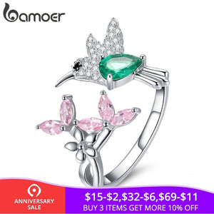 BAMOER 100% 925 Sterling Silver Adjustable Hummingbird Gift Luminous Clear CZ Finger Rings for Women Silver Jewelry BSR016 - The Rogue's Clothes