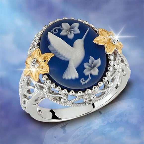 2018 New Peace Dove Bird Rings For Women Men Female Hummingbird Flowers Finger Ring Jewelry Geometric Wedding Ring - The Rogue's Clothes