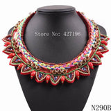 Newest Arrival Fashion Brand Design 2018 Statement Rainbow Braided String Chain With Bead Choker Necklace For Women