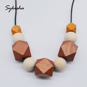 2019 Geometric Wood Beaded Necklace Painted Chunky Wooden Beads Ball Chunky Wax String Cord Brown Blocks Statement Necklace - The Rogue's Clothes