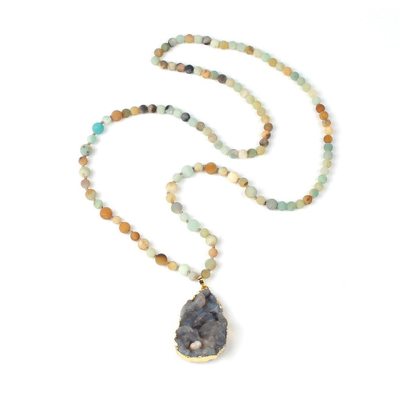Natural Scrub Amazon Stone String Beads Necklace Irregular Crystal Fashion Phnom Penh Pendant Necklace Hand Knotted Accessories