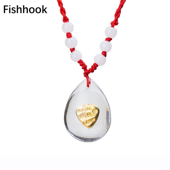 Fishhook Romantic Made With Love Heart Statement Pendant Red String Bead Necklace For Valentine's Day Gifts