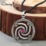 QIMING Spiral Triskele Triangle Necklace Viking Vintage Jewelry Geometric Pendant Celtic Silver Triskelion Necklace Men Women