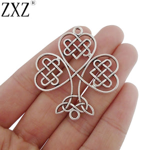 ZXZ 5pcs Antique Silver Tone Large Celtics knot Shamrock Connector Charms Pendants for Jewelry Making Findings 46x41mm