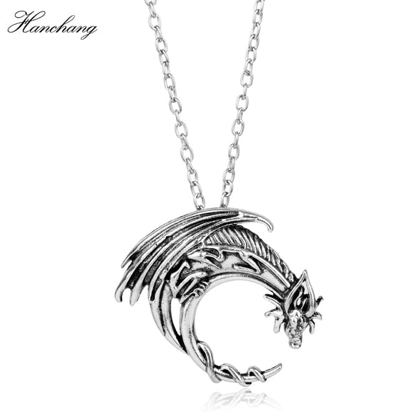 HANCHANG Celtics/Smaug Dragon N Pendants Necklaces Rope&link Chain Charms Necklace Game of Thrones Vintage Accessories Jewelry