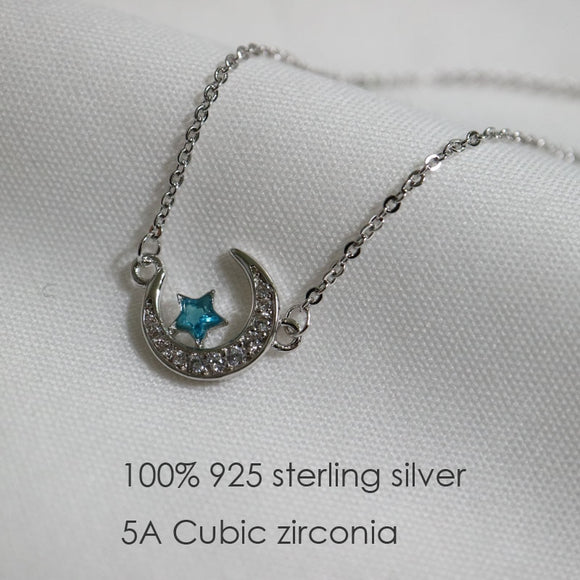 100% real 925 Sterling Silver Crystal moon blue star pendant necklace Rhodium plated silver choker jewelry necklaces for girls - The Rogue's Clothes