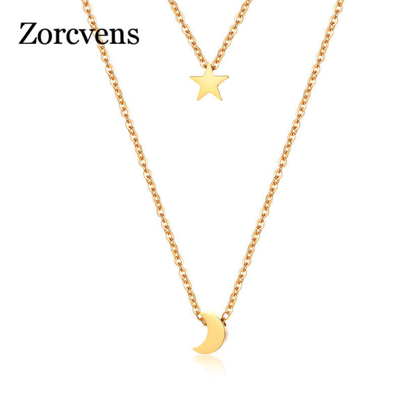 ZORCVENS Star Moon Charm Layered Choker For Women Gold Color Stainless Steel Doule Layer Necklace Elegant Party Jewelry