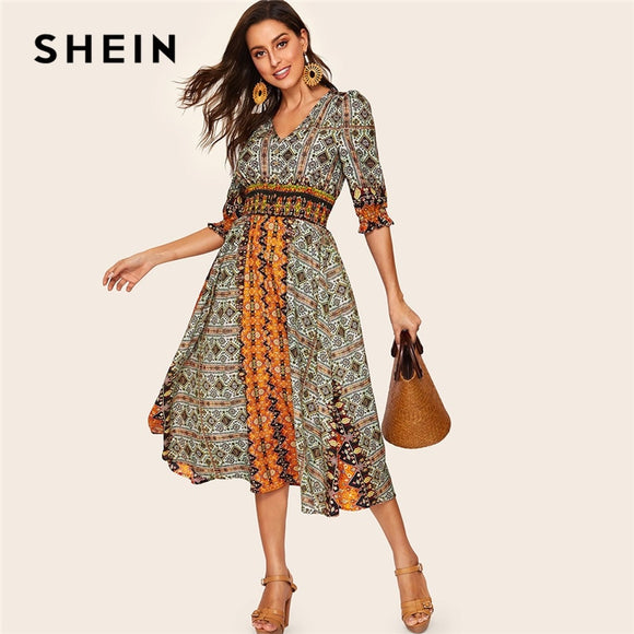 SHEIN Tribal Print Shirred Detail Dress Women Bohemian V Neck Puff Sleeve Half Sleeve High Waist Spring Autumn Dresses