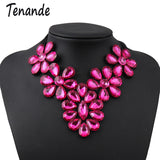 Tenande Maxi Big Statement Flowers Crystal Necklaces Pendants for Women Simple Style Black Rope Chain Party Jewelry Gifts Femme