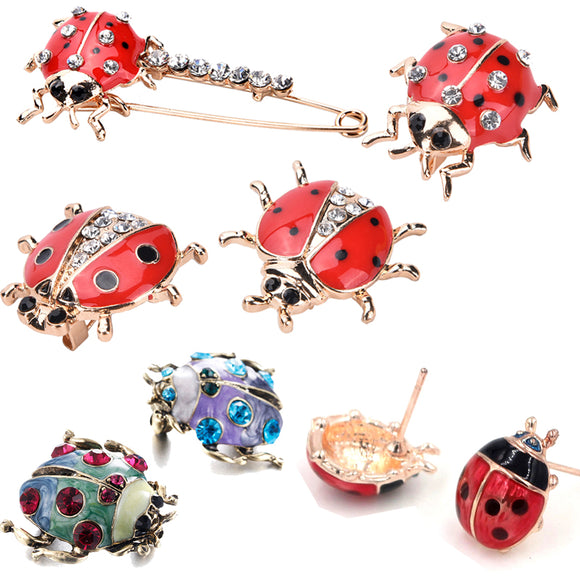 1 pcs Handmade Oil Insect Brooch Fashion Animal Brooch Rhinestone Female Jewelry Ladybug Brooch