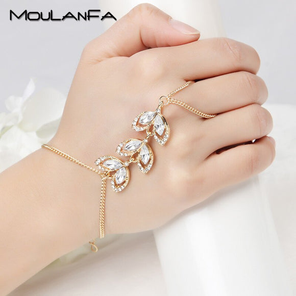 MOULANFA Fashion Trendy Slave Bracelet Hand Palm Bracelet Connected Finger chain crystal Vine Leaf  Bracelet with finger chain
