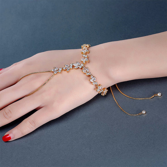UILZ Trendy Exquisite Marquise Cut Cubic Zircon Gold-color Adjustable slave Bracelet Flower Cuff Bracelet Connect Finger JMBP143