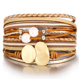 IF YOU Fashion Pearl Multilayer Leather Bracelet Bangle Woman Vintage Charm Pendant Bracelets 2019 Pulseira Jewelry Dropship New