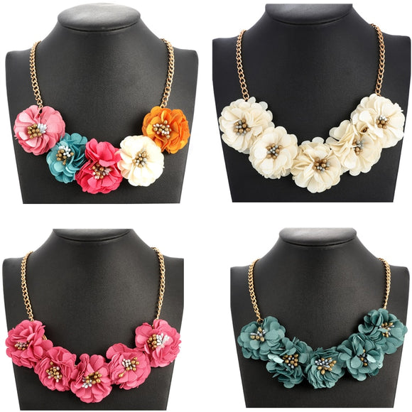 Fashion Maxi Necklaces Gold Box Chain Women Necklace Statement Necklaces & Pendants Flower Necklace For Women Summer Jewelry