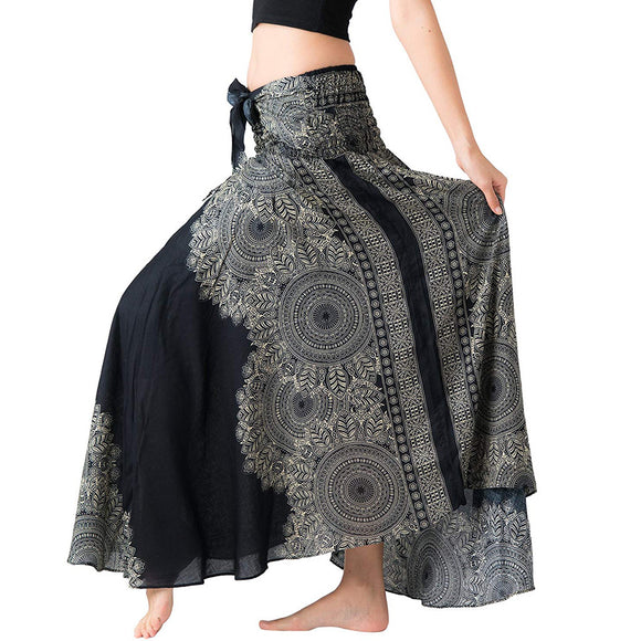 2a4195b37 Women's skirt 2019 TOP Women Long Hippie Bohemian Gypsy Boho Flowers Party  beach Elastic WaistElastic Waist