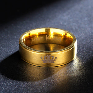 Golden 6mm Rings Her King his Queen Ring Couple Titanium Steel Rings Cross-Mirror Jewelry Wholesale