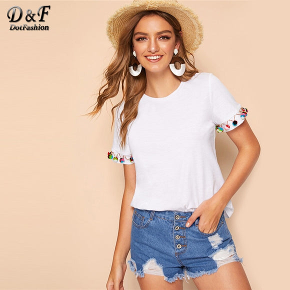 Dotfashion White Pom Pom Trim Solid Top Summer Tops For Women 2019 Casual Short Sleeve Boho Clothes Ladies Fashion T-Shirt