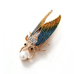 muylinda Cicada Bug Rhinestone Brooch Pin Fahsion Rhinestone Insect Pins Women Brooches Scarf Clip Jewelry