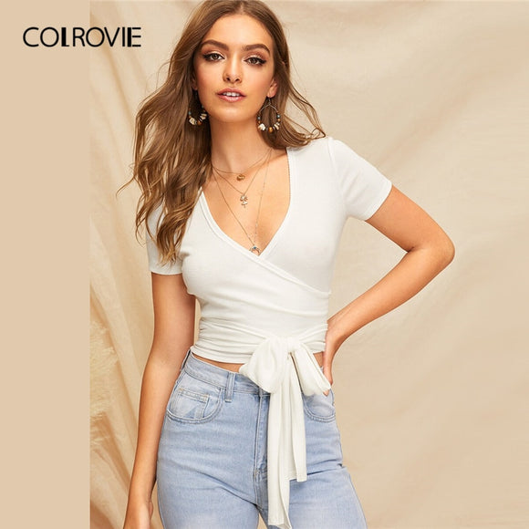 COLROVIE Solid Rib-Knit Wrap Belted Crop Tee Summer Tops For Women Clothes 2019 Boho V Neck Short Sleeve Ladies Slim Fit T-Shirt