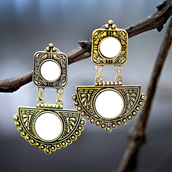 TopHanqi Antique Mirror Gold Carved Long Drop Earrings For Women Indian Gypsy Jewelry Bohemian Ethnic Dangle Earrings Handmade
