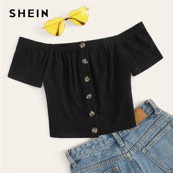 SHEIN Off Shoulder Button Front Rib-Knit Crop Top Women Clothes Summer Slim Fit Tee 2019 Boho Short Sleeve Solid Tshirt