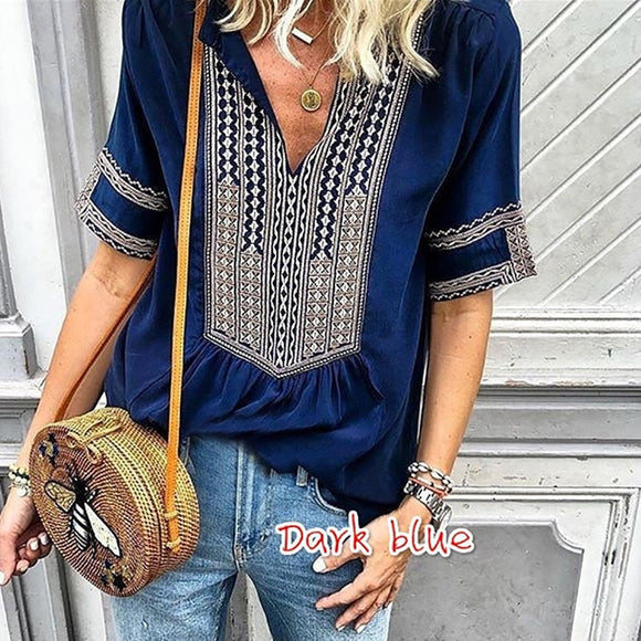 Fashion Top Tee T Shirt Women Bohemian Loose and Comfortable Tshirt Haut Femme Casual Camiseta Feminina Summer V-Neck Clothes