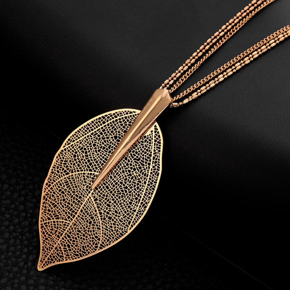 2019 Fashion New Rose Gold Color Necklace For Women Necklaces & Pendants Sweater Chain Big Leaves Pendant Statement Jewelry Gift