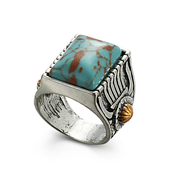 1 Pc New Bohemian Gypsy Style Women Men Navajo Indian Handmade Square Shape Silver Ring Vintage Fashion Jewelry Size 6-10