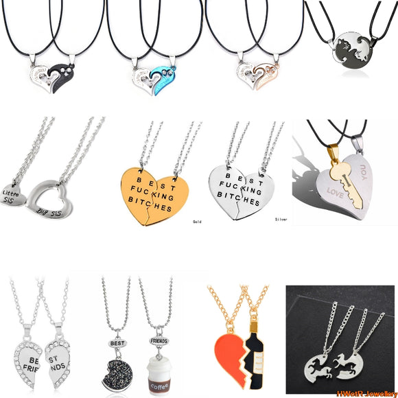 2Pcs/set Best Friend Necklace Broken Heart/Simulation Milk Biscuits/Cat Pendant Necklace Bff Friendship Creative Jewelry