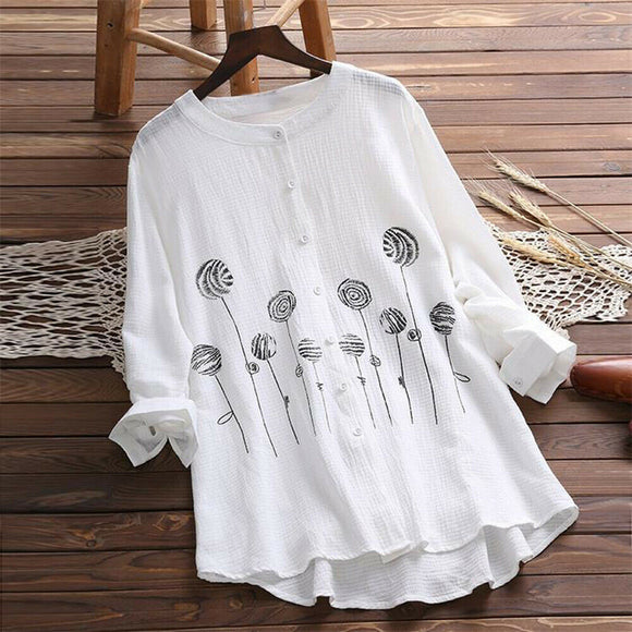 Women Cotton&Linen Crew Neck Summer Gypsy Baggy Tunic Top Shirt Blouse Plus Size Clothing Long Sleeve Boho Folk Soft Clothes