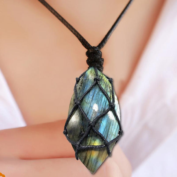 Dragons Heart Labradorite Necklace Natural Stone Pendant Wrap Braid Yoga Macrame Necklaces Men Women Energy Necklace Jewelry