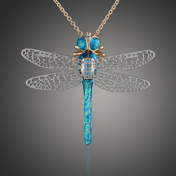 New Arrival Color opal dragonfly Necklaces & Pendants for Women Jewelry Wedding Dual-use Necklace wholesale D00532