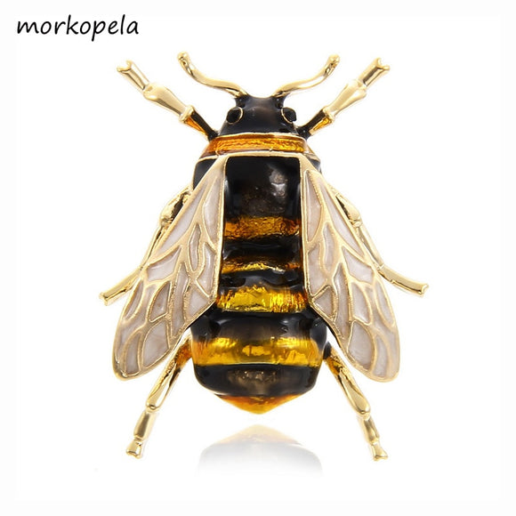 Morkopela Bee Enamel Pin Fashion Brooches For Women Insect Pins and Brooches Jewelry Scarf Clip Accessories