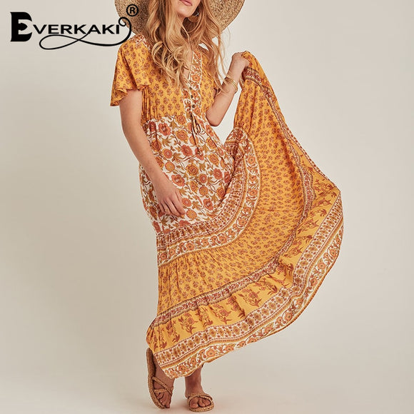 Everkaki Bohemian Gypsy Print Maxi Dress Women Adjustable Waist Buttons Boho Beach Long Dresses Female 2019 Summer Autumn