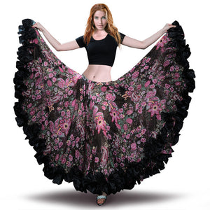 Hot Sale 2019 bellydancing Bohemia Chiffon large gypsy Big belly dance skirts gypsie costume Tribal 25 yard skirts clothing-6040