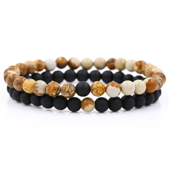 2Pcs/Lot Couple Lover Natural Stone Bracelet Set Women Men Fashion 6mm Mala Beads Bracelet Sets Jewelry Gift For Him Her Pulsera