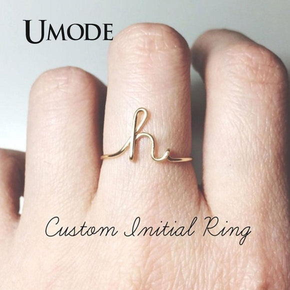 UMODE A-Z Initial Ring for Women Silver Gold Color Stacking Personalized Letter Rings Fashion Bague Femme Name Jewelry UR0516