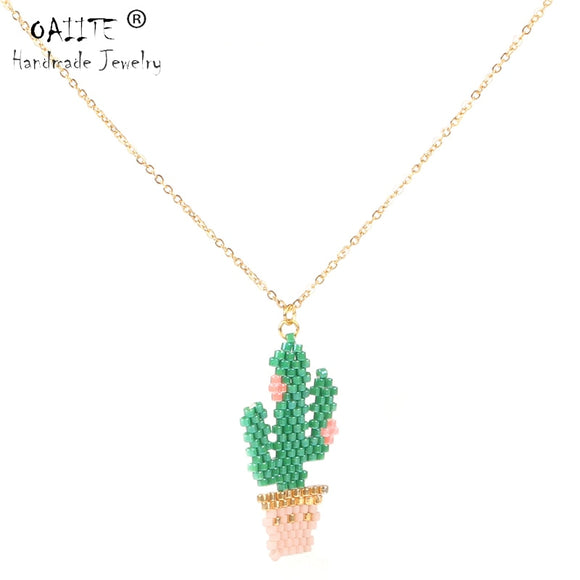 OAIITE Mexico Cactus MIYUKI Necklace Women Handmade Delica Seed Beads Flower Necklace Metal Gold Chain Jewelry Gift Dropshipping