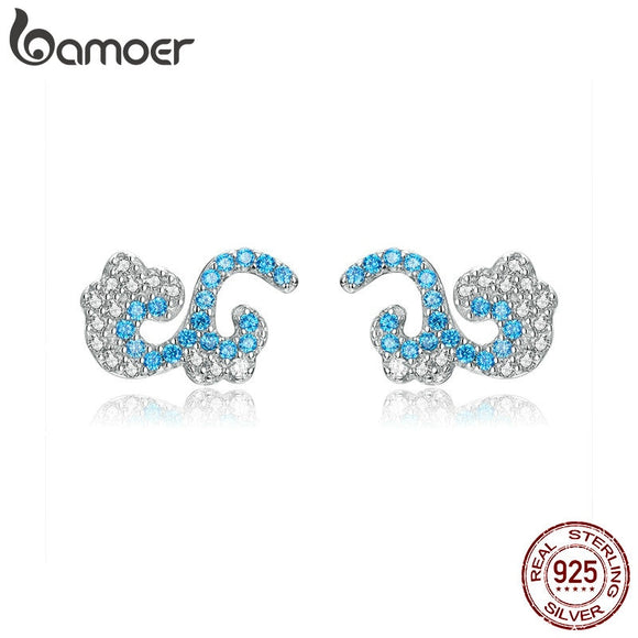 bamoer Waves Stud Earrings for Girls 925 Sterling Silver Ocean Blue CZ Statement Jewelry Original Design Fashion Bijoux BSE121