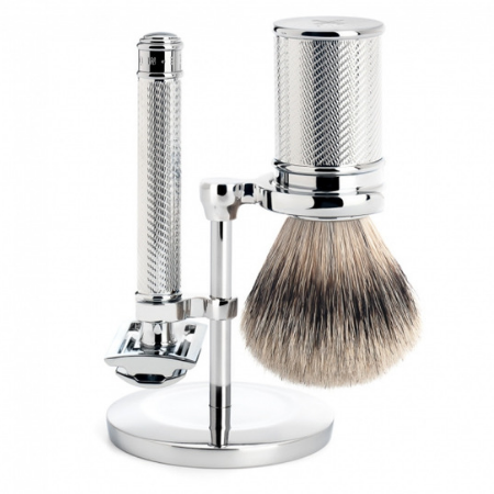 Safety Razor & Silvertip Shaving Set: Metal - Living Industries