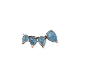 "Jacquie Aiche ""4 Aquamarine Teardrop Ear Cuff""-White Gold-Right Ear Cuff"