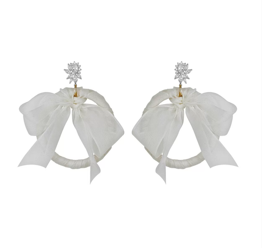 "Fallon Jewelry""Monarch Tuxedo Bow Hoop Earring"""