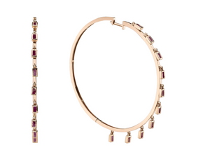 "Shay Fine Jewelry ""Gemstone Baguette Dangle Hoops"""