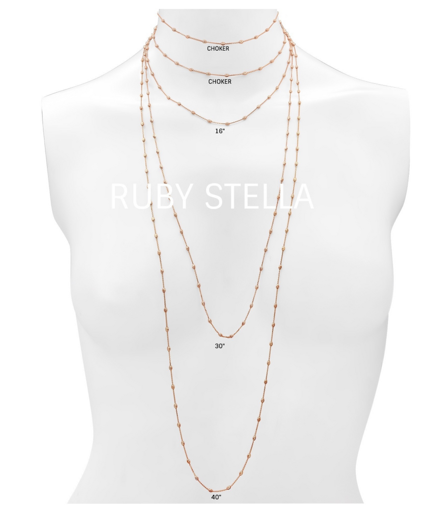 Ruby Stella '14K Rose Gold Diamond Cut Beaded Chain Necklace""