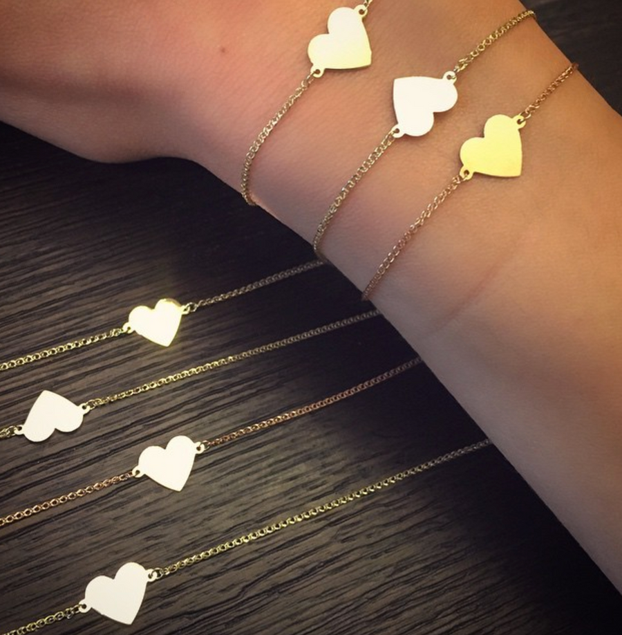 14K Gold Floating Heart Bracelet